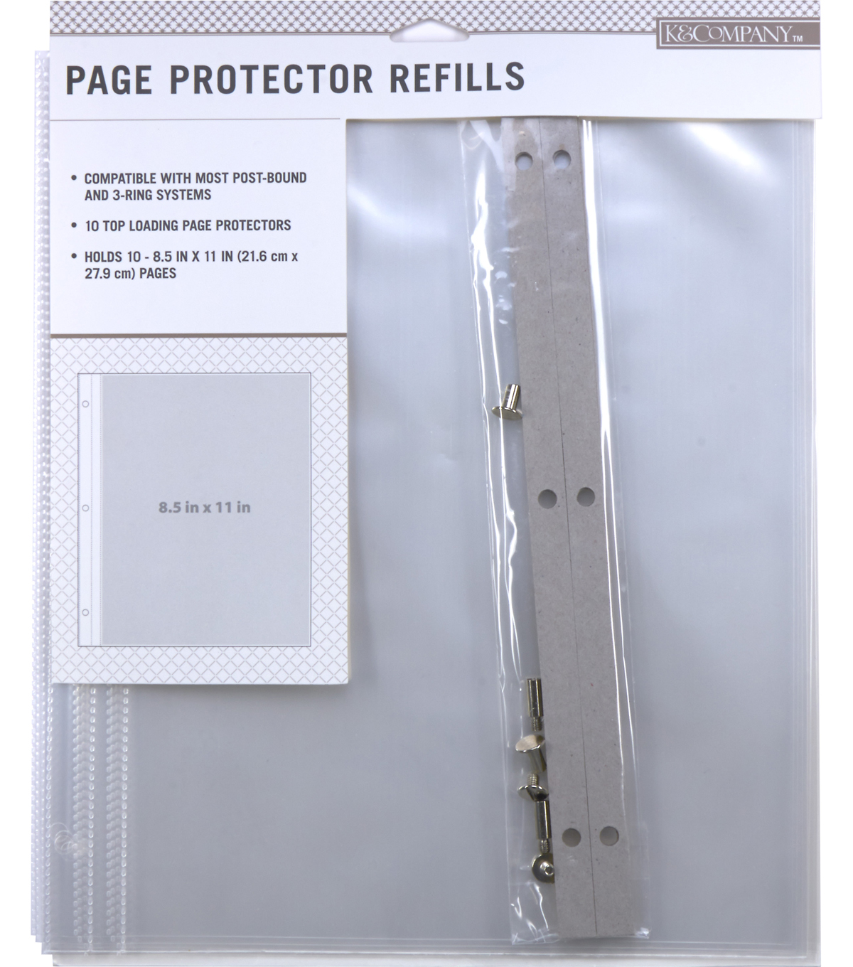 K Company 85 X 11 Post Bound Scrapbook Refill Pages 10 Pack