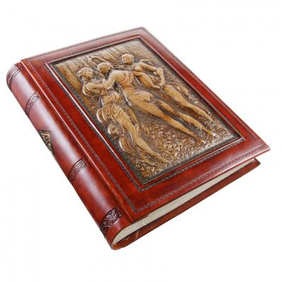 The Three Graces Hand-tooled Italian Leather Scrapbook