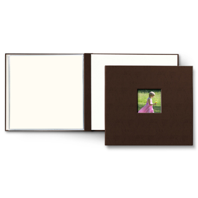Chocolate Bonded Leather 12 x 12 Scrapbook with cover window