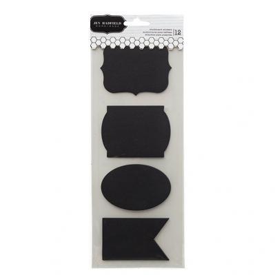 Chalkboard Stickers - 12 Black Labels
