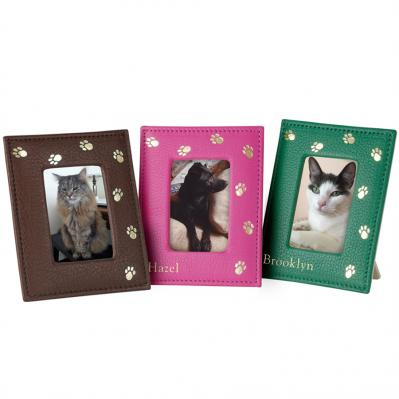Genuine Leather Pet Paws 4 x 6 Photo Frame