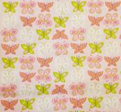 Flutter - Pink and Green Butterflies Patterned Fabric